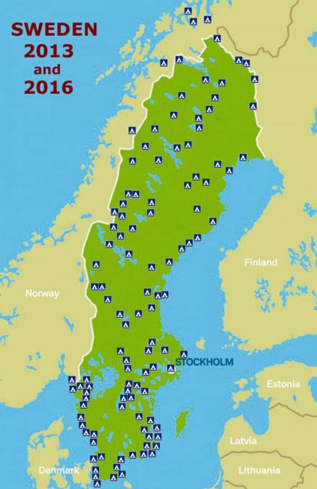 Camping Karta Europa.Camping Sverige Karta Sveriges Camping Karta Norra Europa Europa