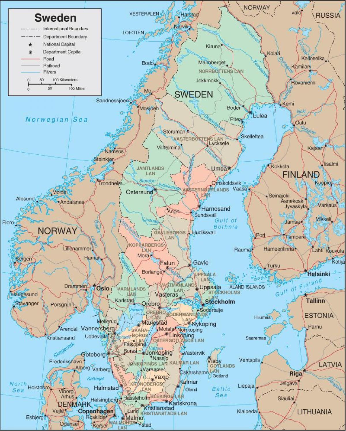 Karta Sverige Borlange.Karta Sverige Detaljerad Karta Over Sverige Norra Europa Europa