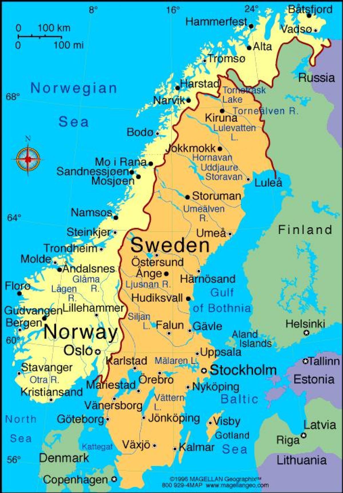 Karta Europa Pa Svenska.Svenska Stader Karta Karta Over Sveriges Stader Norra Europa