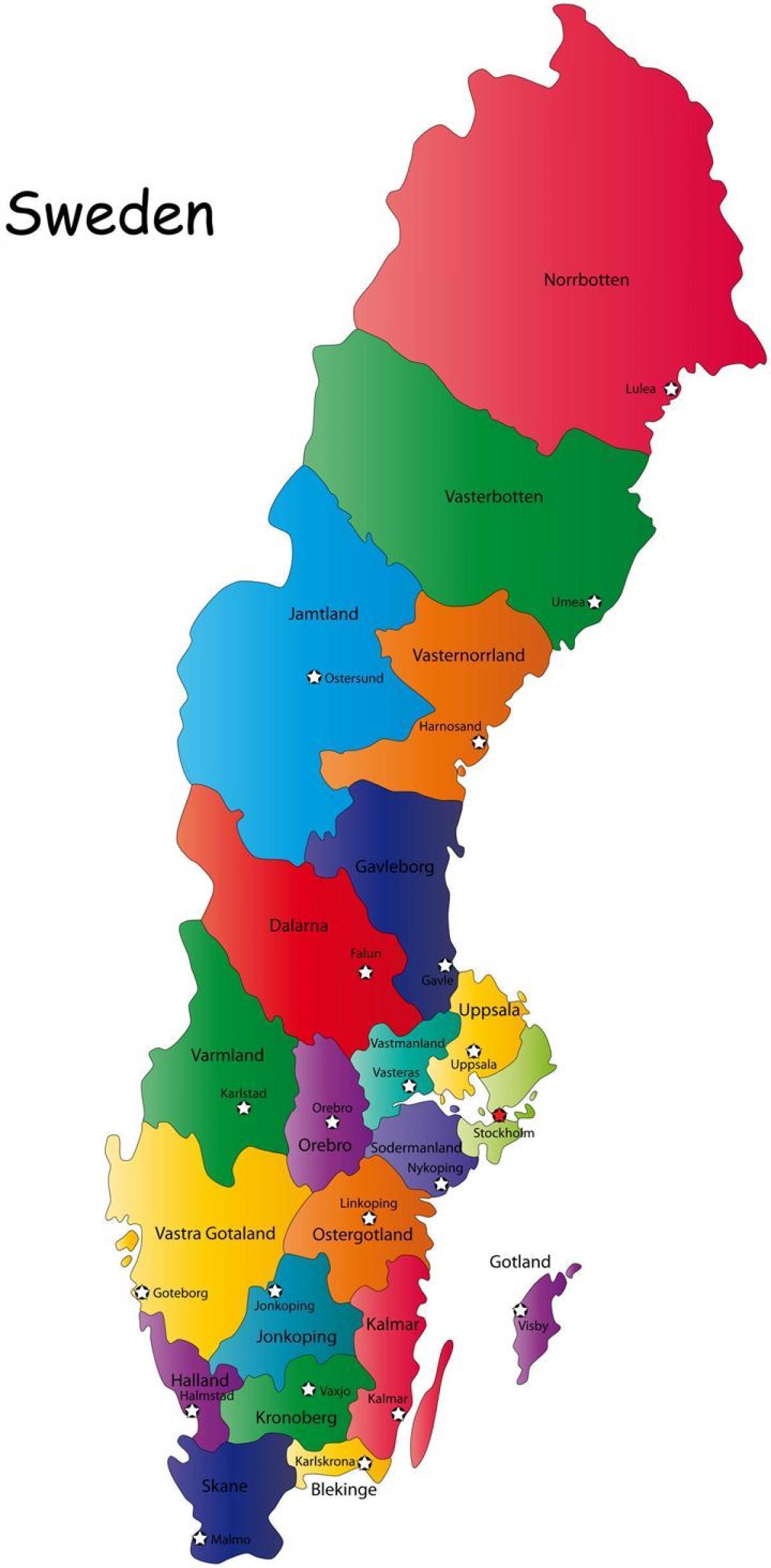 svensk karta län Sverige karta län   Karta av svenska län (Norra Europa   Europa) svensk karta län