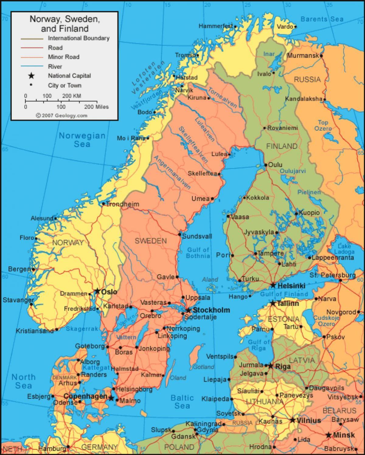 Karta Sverige Borlange.Sverige Pa Kartan Svenska Karta Norra Europa Europa