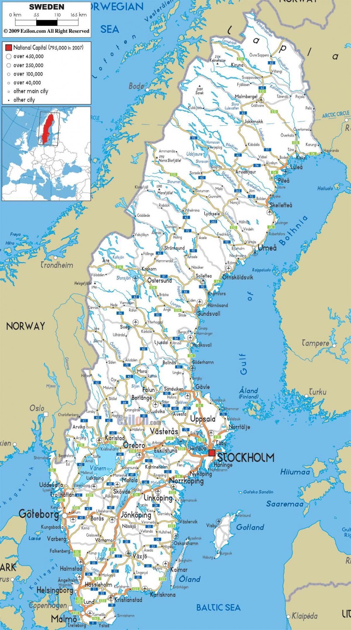 Karta Sverige Borlange.Sverige Stader Karta Sverige Karta Med Stader Norra Europa Europa