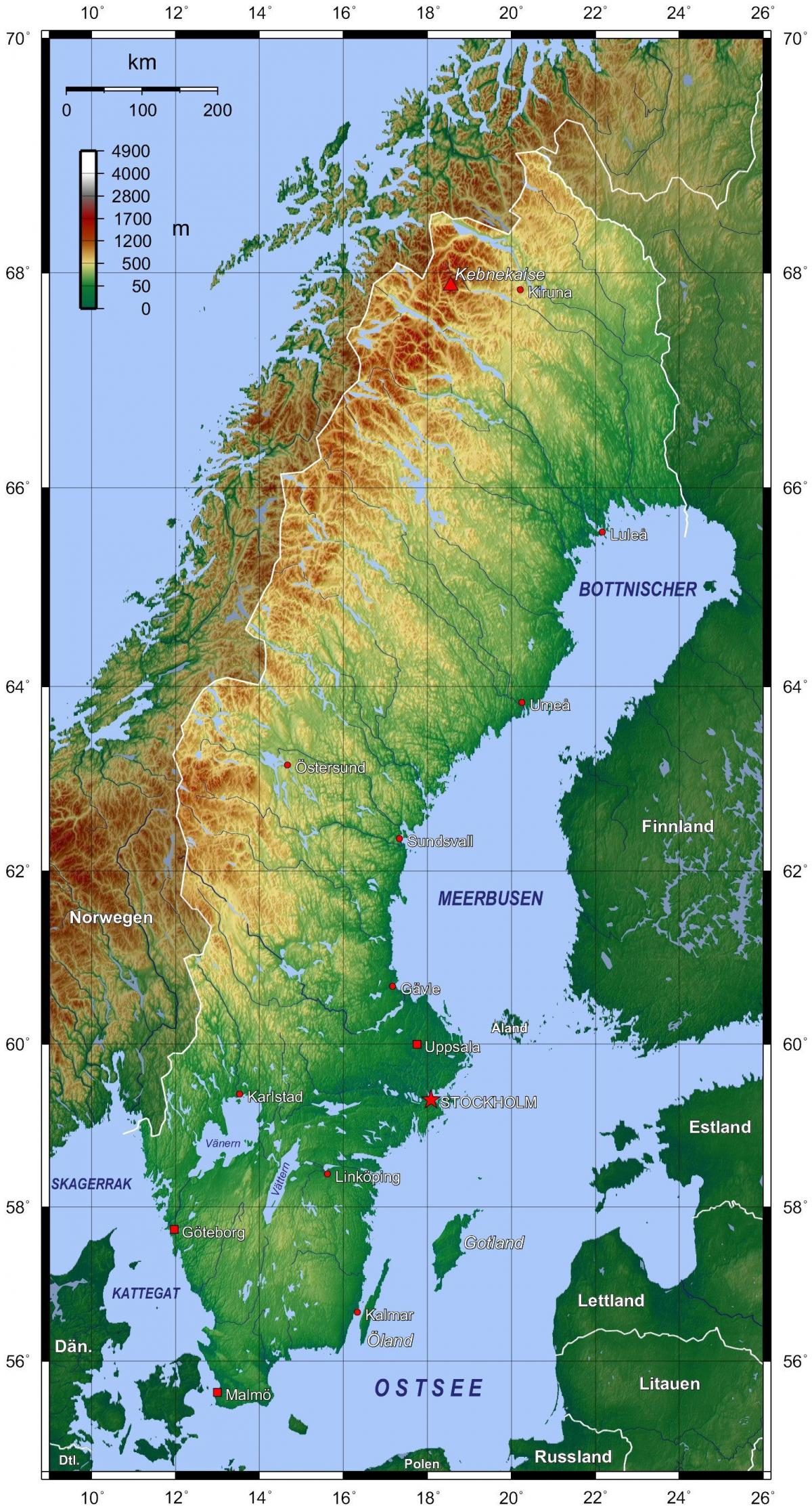 Sverige Topografisk Karta Karta 2020